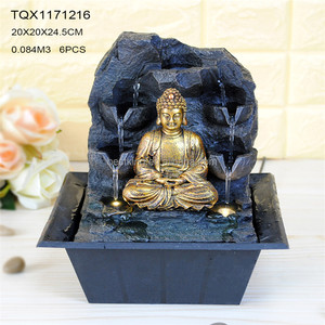 Fashion style resin carving navy blue buddha zen fountain garden statue fountain