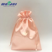Custom logo soft drawstring jewelry pouch, swimsuit and bikini packing satin silk bags