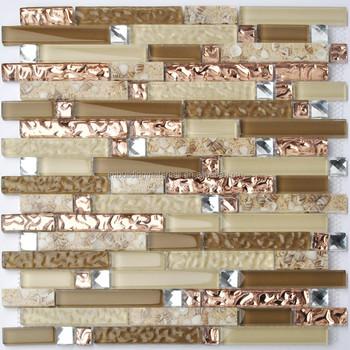 Kristallglas Diamant Mosaik Harz Muschel Fliesen Rose Gold Welle