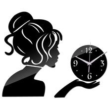 2015 new wall clock clocks reloj de pared watch horloge Acrylic mirror stickers People Living Room Quartz Needle free shipping