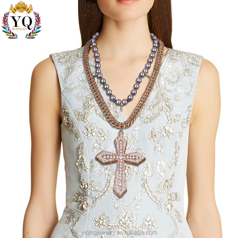 NYQ-00864 Pearl elegant fashion two chain 14k gold cross necklace for gift