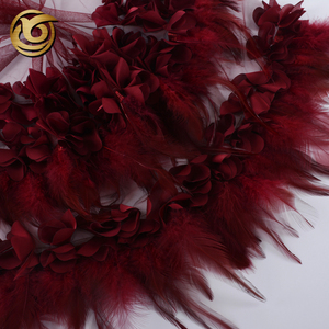 High quality beautiful elegant modern design applique embroidery 3d feather rose lace fabric