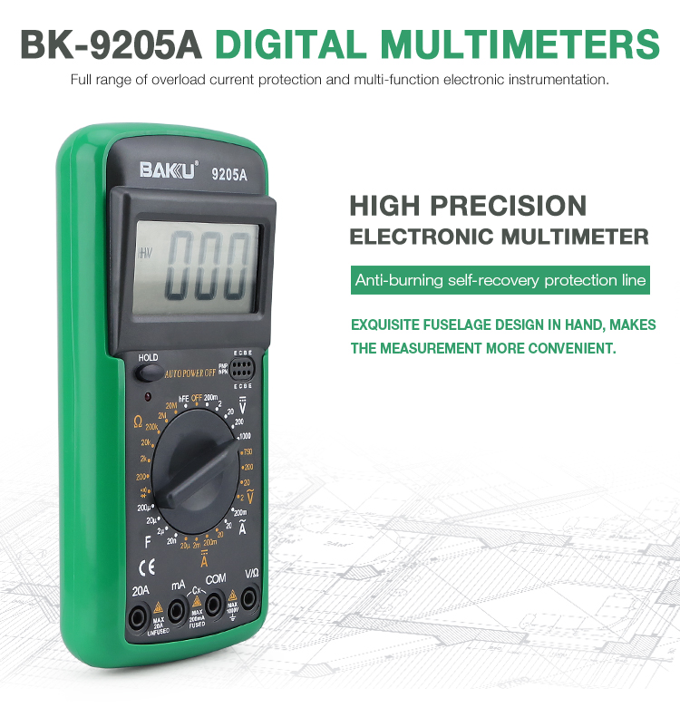 BAKU BK-9205A Mobile Phone Repair low price digital multimeter Prevent to burn all digital multimeter