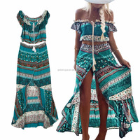 2017 hot selling models of women Bohemian word two shoulder suit dress