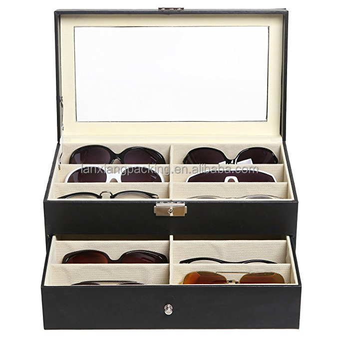 1 Drawer /& Leatherette Trim Black 12 Compartment Eyewear /& Sunglasses Case