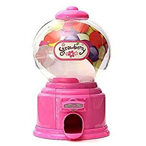 Af Kitchen : Hot Sale Mini Cute Gumball Vending Candy Machine Dispenser Coin Saving Bank Money Box Decorative Gift for Kids - Pink