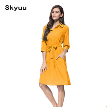 dea16ae918fed Skyuu 2019 Shirt Dress Women Yellow Red Black Solid Casual Elegant Mid  Office Ladies Dresses Knee. 6 Colors Available