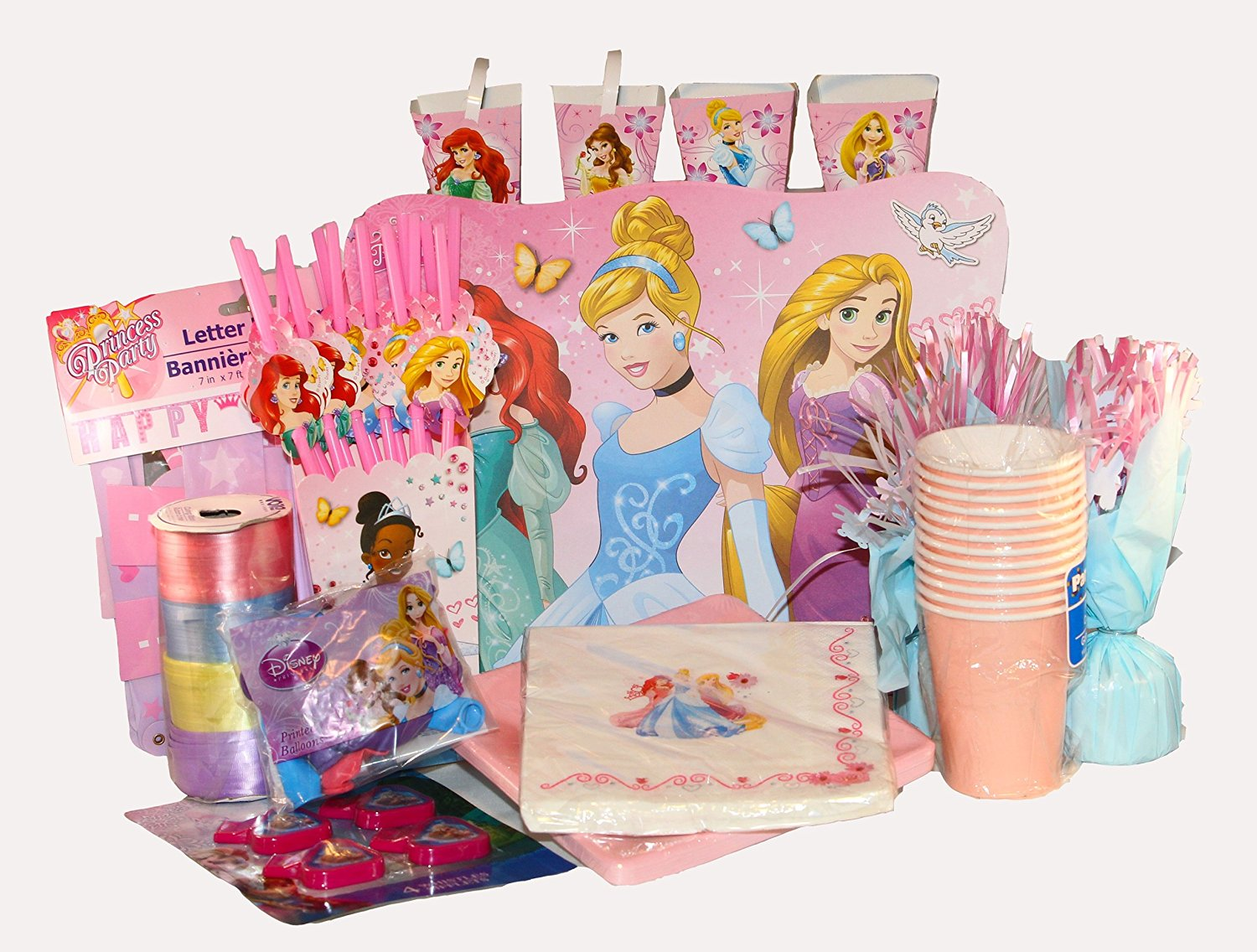Ultimate Disney Princess Themed Birthday Party Pack Complete with Decorations and Supplies