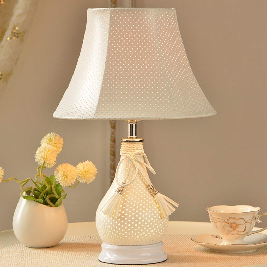 Virtper US Modern Simple Bedroom Bedside Lamp Table Lamp, White/Pink Leather Desk Lamp, Children's Table Lamp, 282845CM (Color : White)