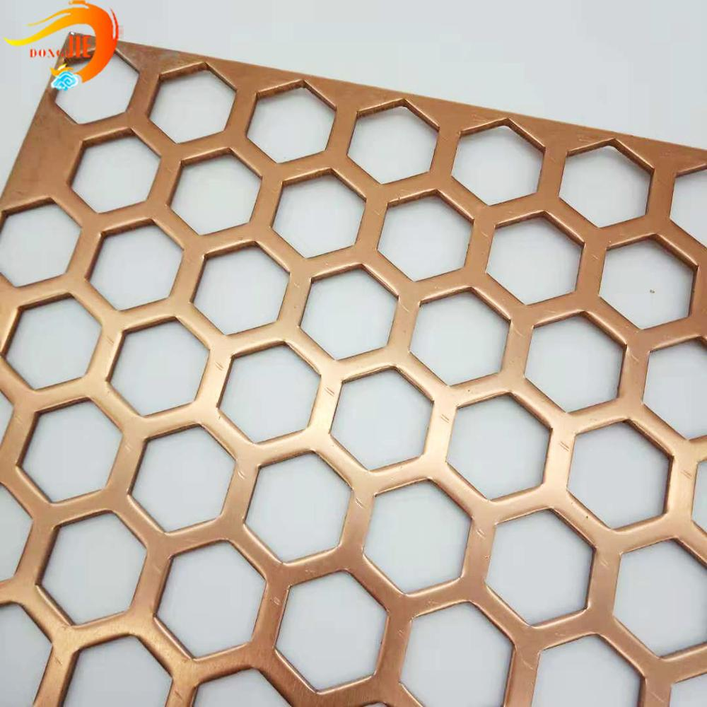 Aluminum decorative anodized hexagonal hole perforated metal sheet customized