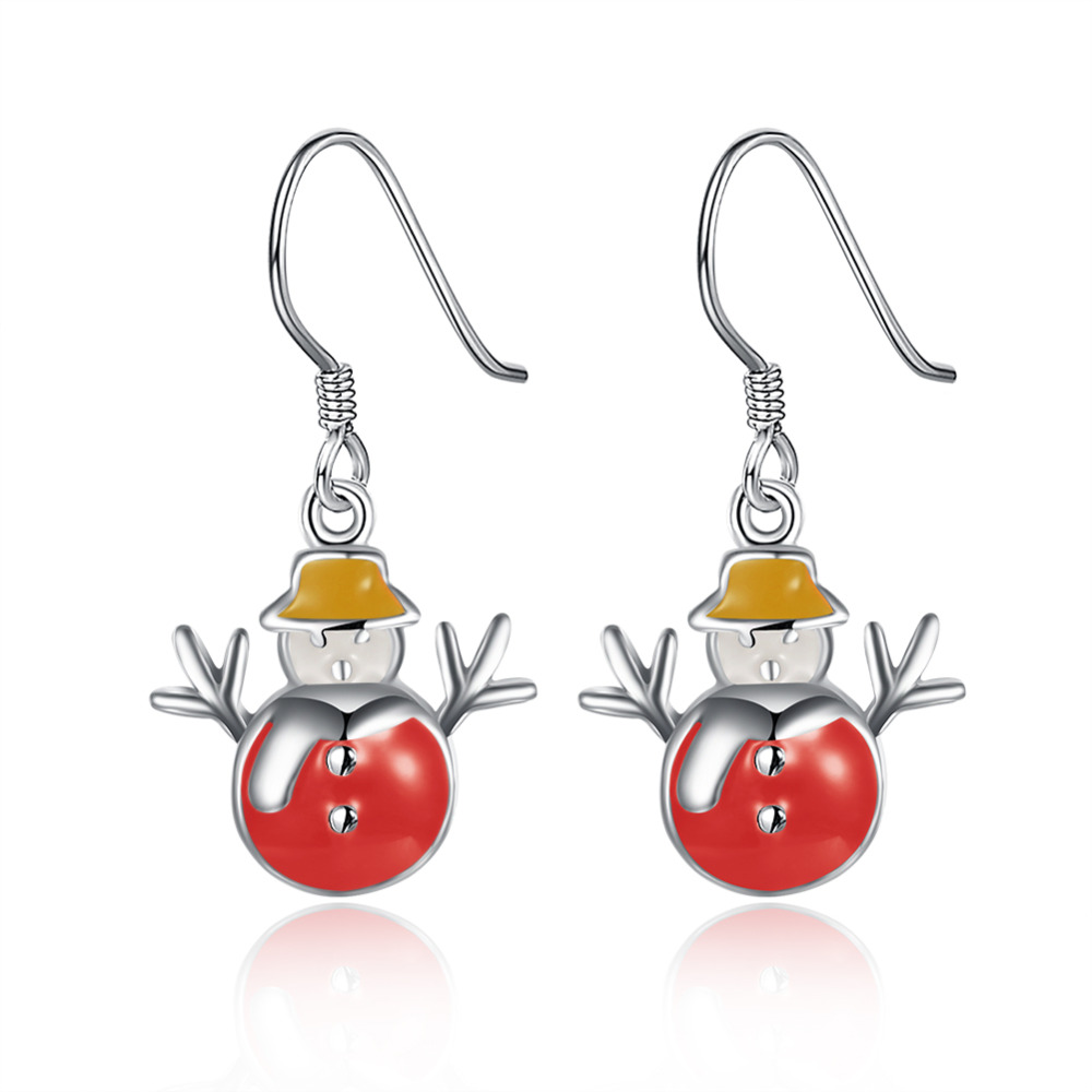 Red Color Fashion Snowman Cute Christmas Earrings Wholesale
