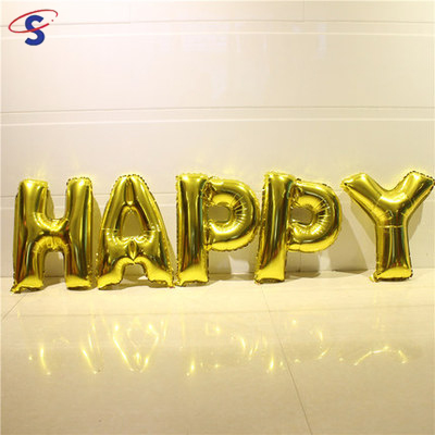 Super September Purchasing Alibaba Best Seller 16 Inch Happy Birthday letter Foil Balloons Gold Party Decoration Use