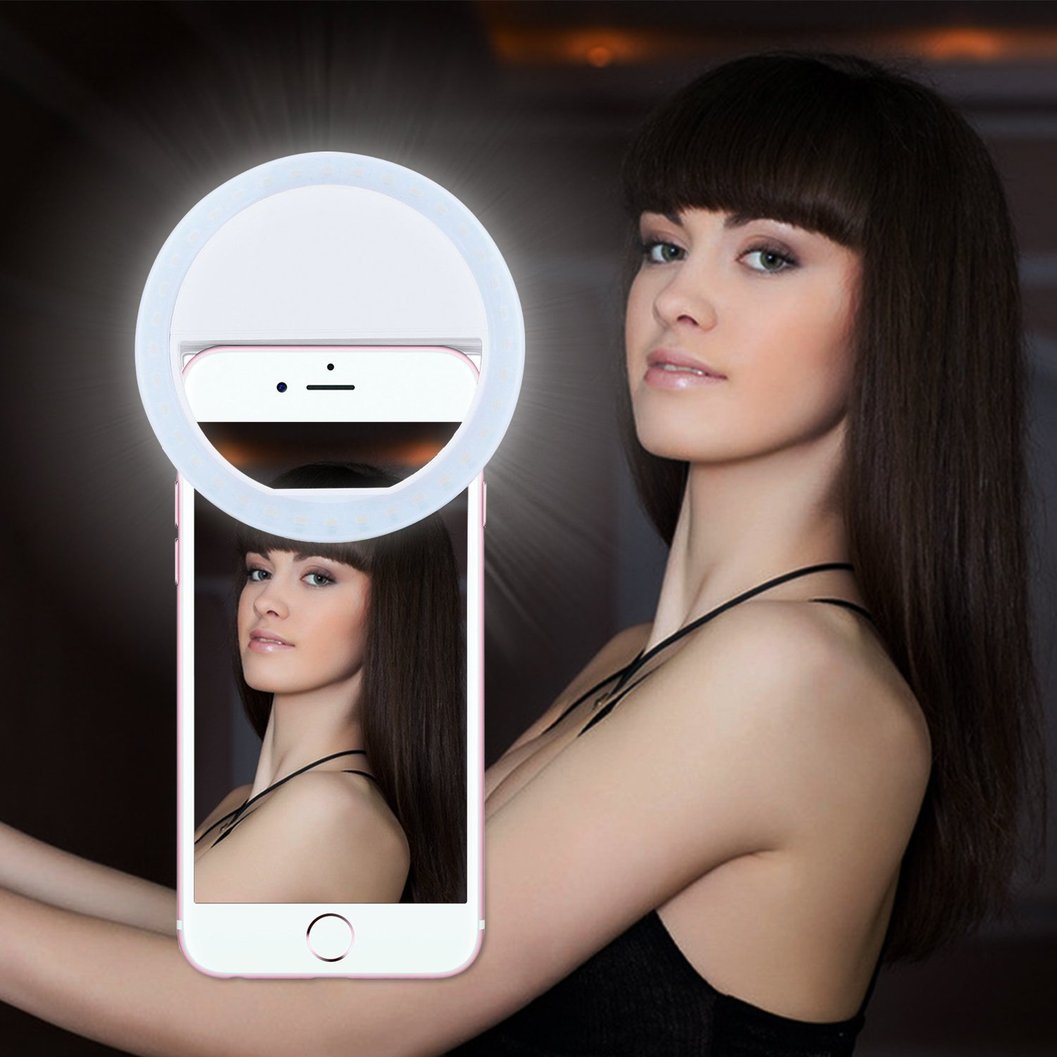 Selfie Light,Lavince Selfie Ring Light for iPhone 6 plus/6s/6/5s/5/4s,Samsung Galaxy S7 Edge/S7/S6 edge/S6/S5/S4/S3, Motorola and All the Smart Phones with 36 Self LED Lighting(White)