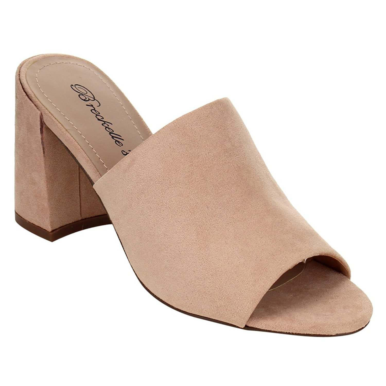 09eaf55875cb Get Quotations · Breckelle s Women Chunky Heel Mule - Open Toe Block Heel  Mule - Peep Toe Heel Slide