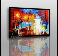 new knife fire tree hand painted oil painting on canvas wholesale factory direct