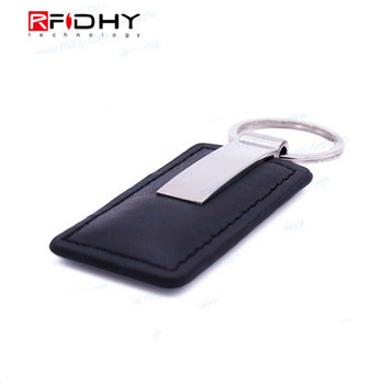 Factory Outlet HF Ntag213 Chip RFID Rectangle Faux Leather Keyfob