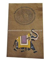 INDIAN MINIATURE PAINTING OF ELEPHANT HANDMADE FOLK ART ON OLD STAMP PAPER