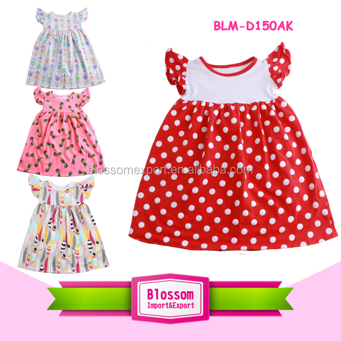 Top Sale Toddler Children Clothing Fashion Flutter Sleeve Polka Dots Kids Cotton Pearl Dress Top
