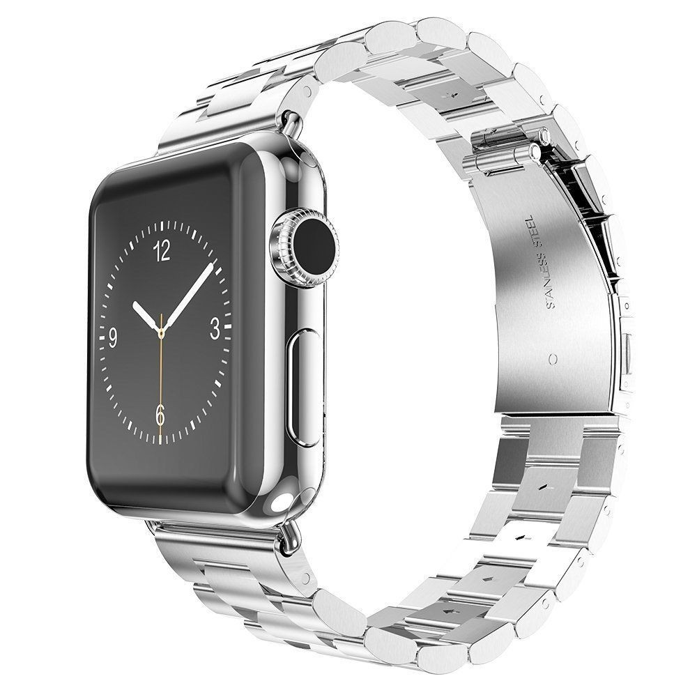 for Apple Watch Stainless Steel Band 42mm 44mm, Three Link Metal Wrist Bracelet Strap for Apple Watch 5/4/3/2/1/ Smartwatch Band