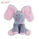 Hot High quality peekaboo cute elephant electric squint concert singing doll gund baby animated flappy the elephant plush toy