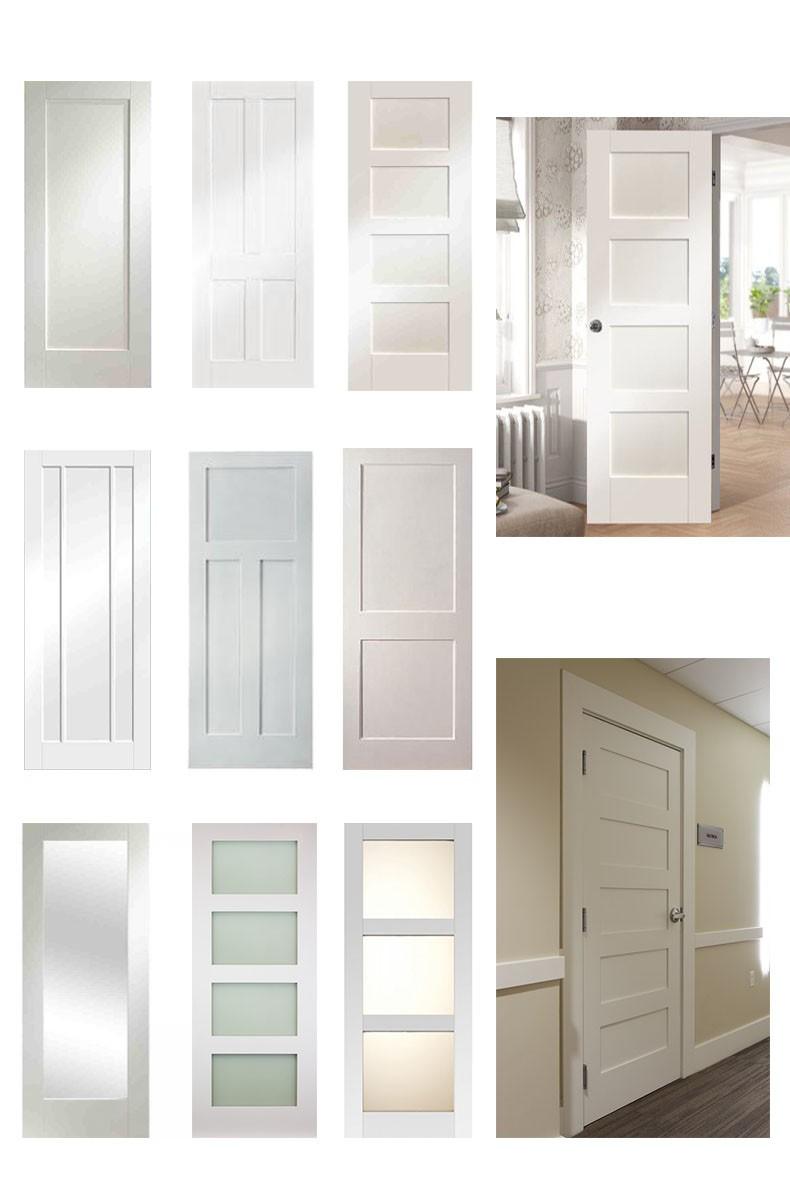 Double Swing Doors Double Swing Raised Two Panel Finished White Painting Wood Hall