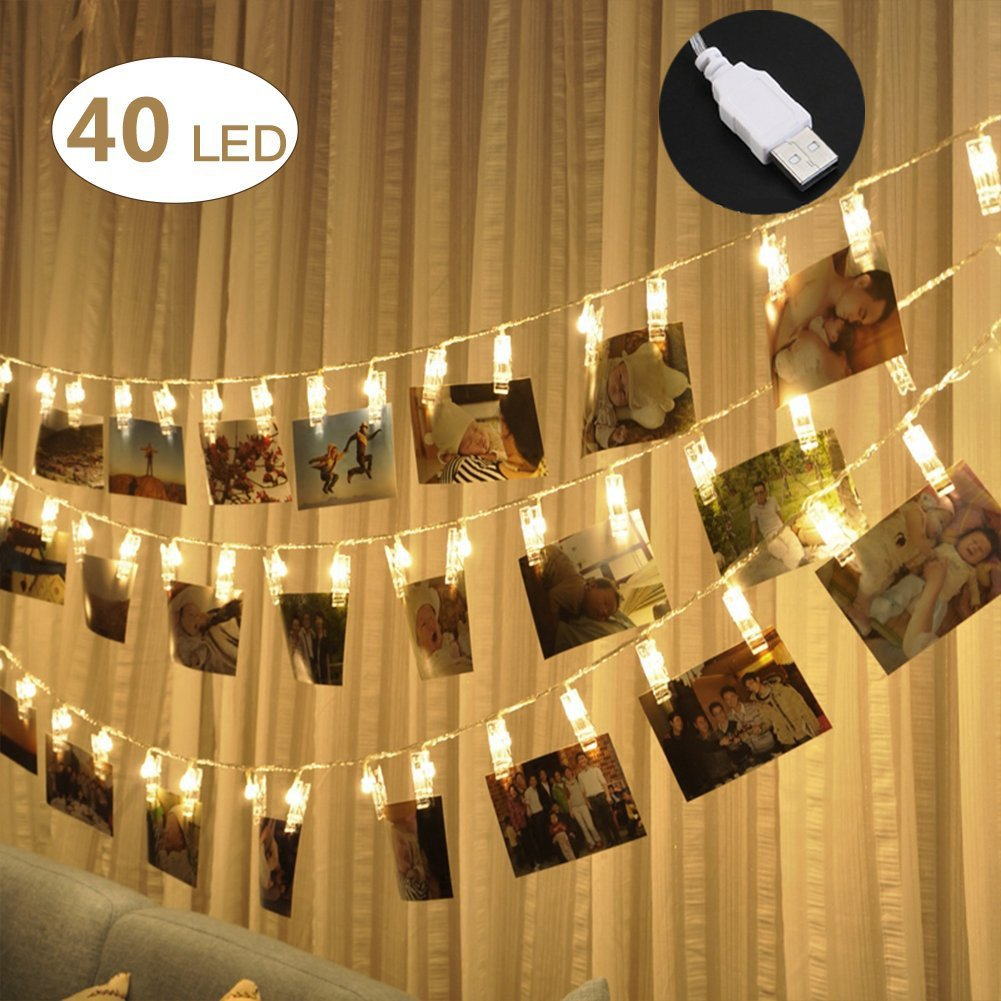 40 LED Photo Clips String Lights - Adecorty USB Powered Christmas String Lights for Wedding Party Home Dorm Wall Decor, Clips Lights for Christmas Cards Photos, Best Gifts for Teen Girls (Warm White)