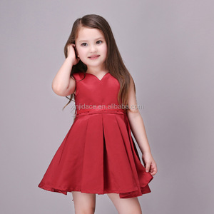 Kids wedding birthday party dress sleeveless children girls red colour frock