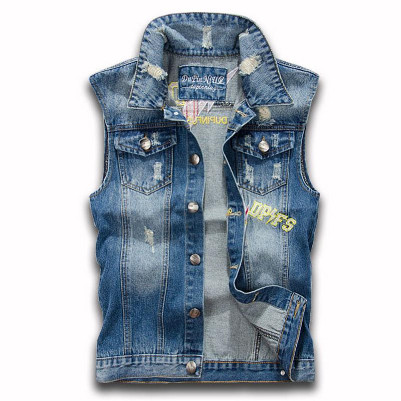2ac783fdb5a26 Get Quotations · Brand 2015 men s fashion casual sleeveless slim fit denim  blue embroidered vest sleeveless jean vest men