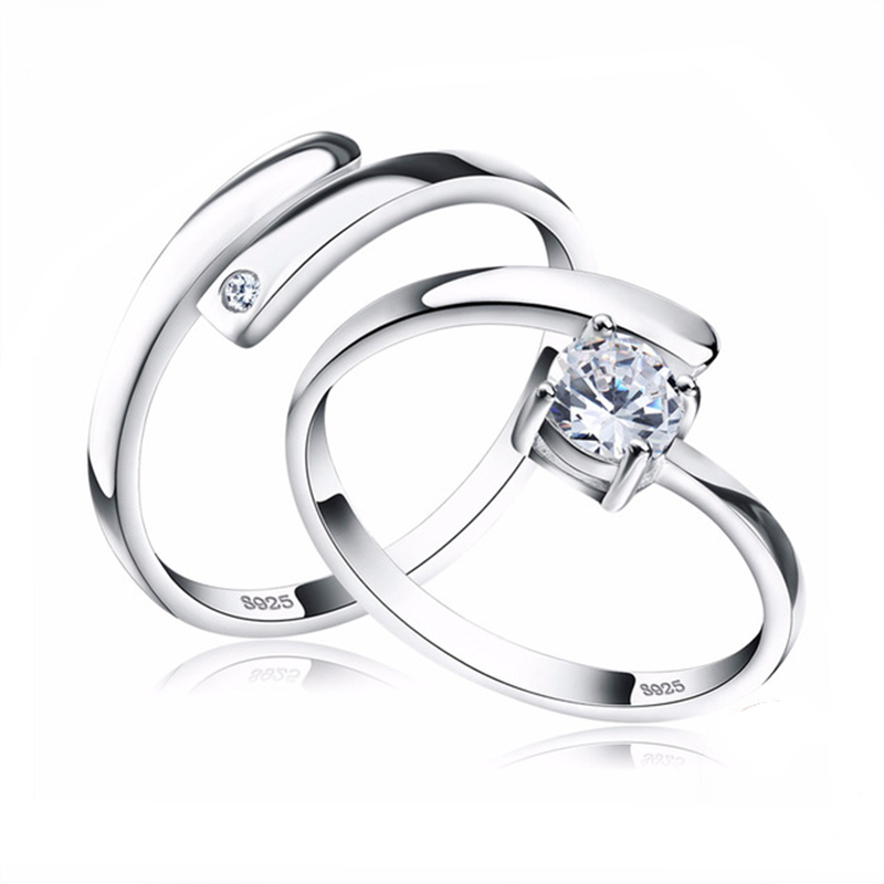 925 Silver Ring Set with CZ Fine Jewelry for Women Men 2018 New Resizable Real 925 Sterling Silver Jewelry