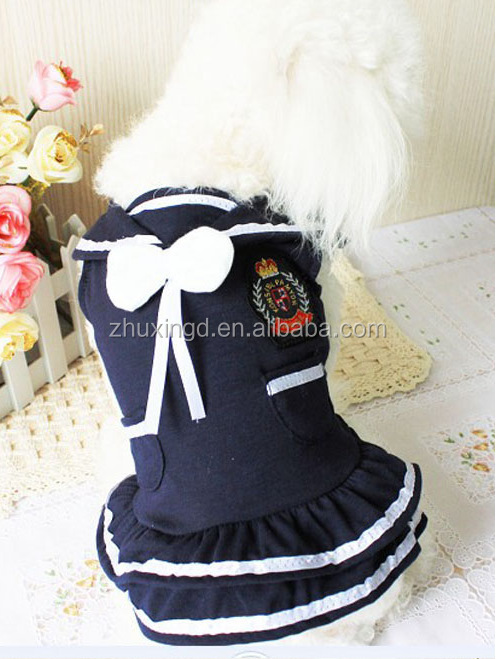 Fashion navy style pet dress, lovely white dress for dogs, summer pet dog dress