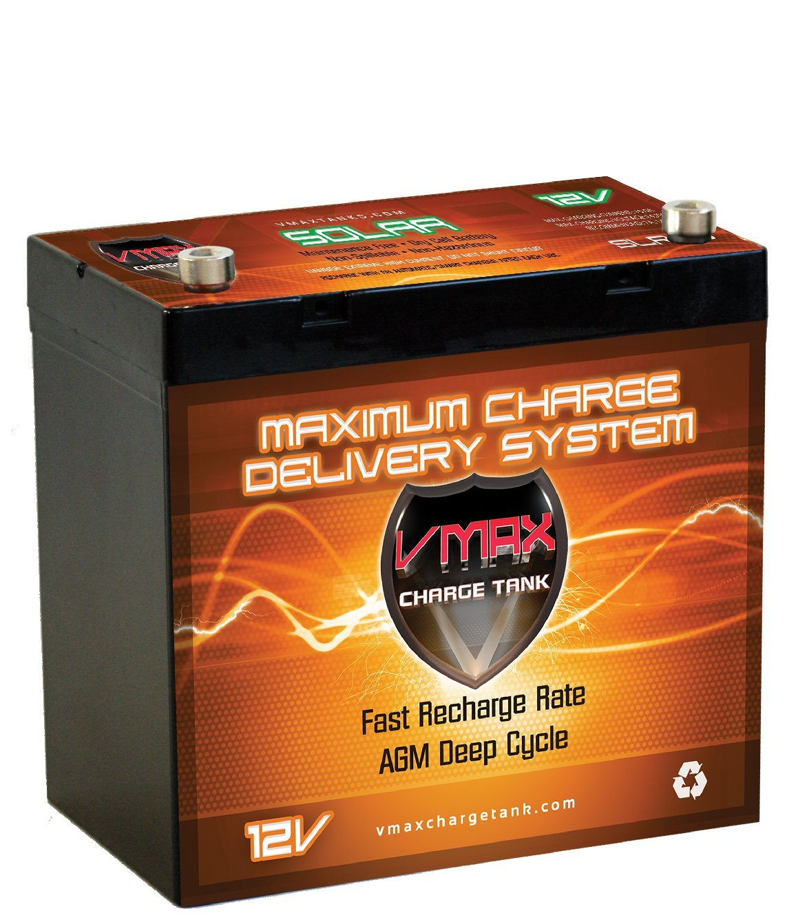 SLR60 PE POWER SOLAR WIND BOAT LIFT AGM DEEP CYCLE 60AH VMAX SOLAR BATTERY