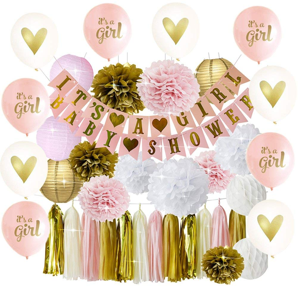 Pink and Gold Baby Shower Decorations For Girl | 5 It's A Girl/5 Gold Heart Latex Balloons | BABY SHOWER IT'S A GIRL Banner | Pom Poms Flowers Paper Lanterns Paper Honeycomb Balls Tissue Paper Tassel