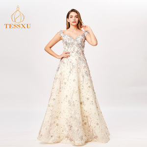 068600e6dd45 2019 Shinny Lace Gowns Silk Ball Gown Evening Dress Banquet Women Formal  Dinner Dress Party Wear