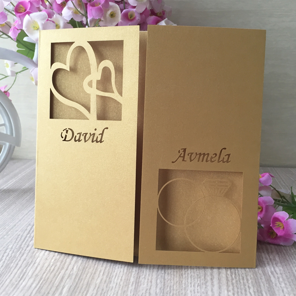 Free Custom Laser Cut Wedding Invitations Unique Wedding Card For Party Supplies