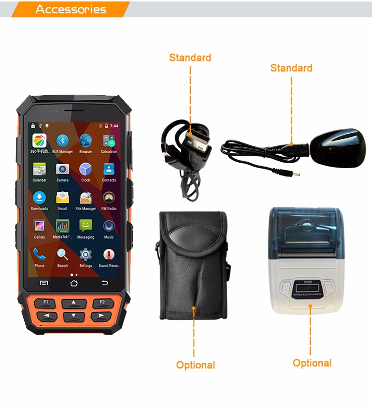 C5000 Rugged Pda Ip 65 Android 5.1 Pda With Wifi Barcode Scanner ...