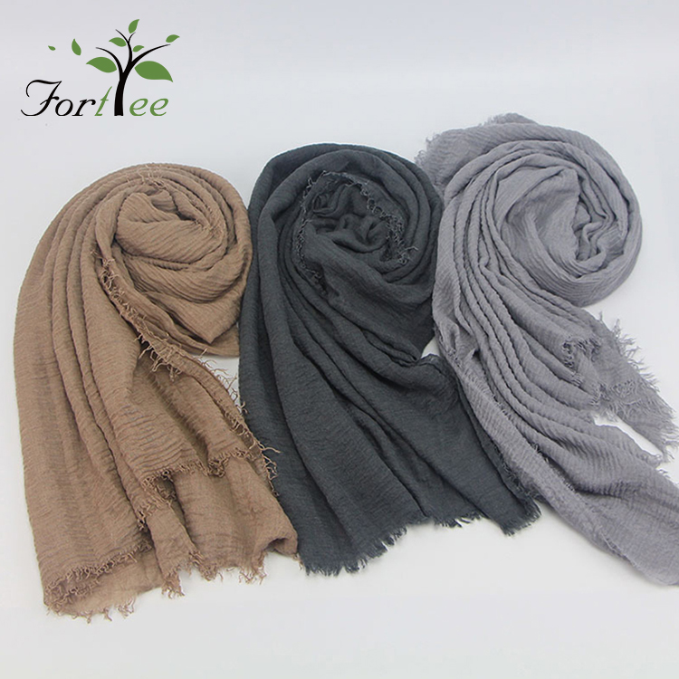 2018 spring women cotton linen crinkle scarves hijab