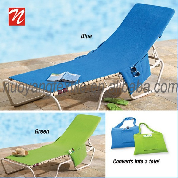 Detachable beach lounge chair cover,beach towel with pocket wholesale