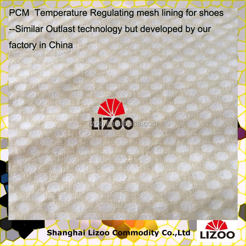 Temperature Regulating mesh lining with PCM phase change material for shoes