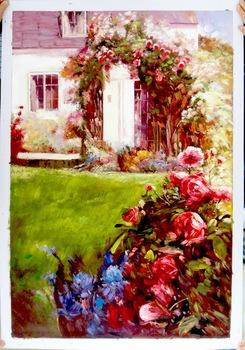 High Quality Rose Flower Scenery Garden Artwork Wall Decor Oil Painting YZ 15