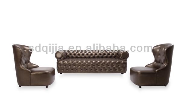 american style luxus chesterfieldsofa dunkelgrauem leder. Black Bedroom Furniture Sets. Home Design Ideas
