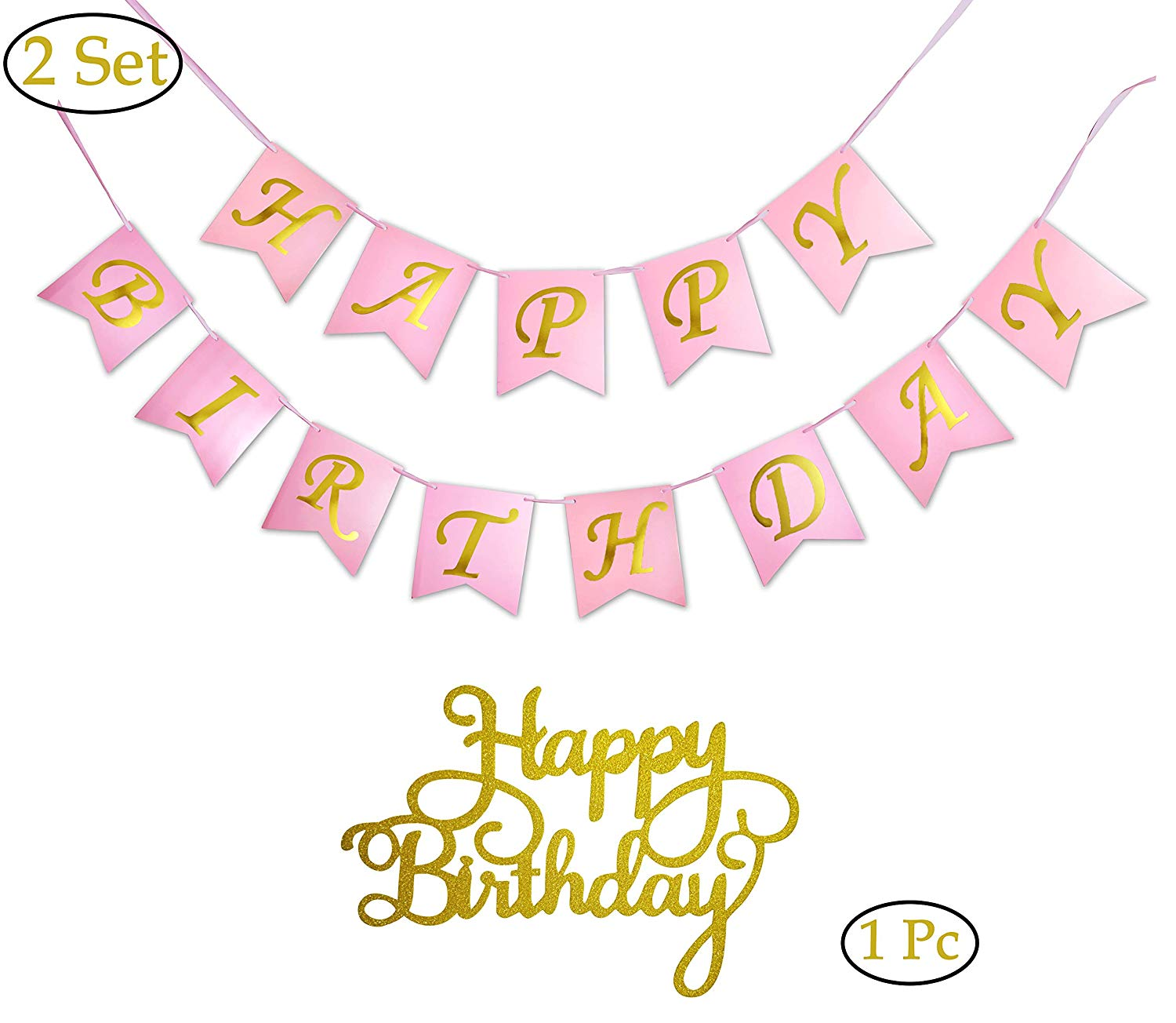 2 Sets of Happy Birthday Banners Bunting,1 Pc of Happy Birth Day Cake Topper (Gold Glitter), Party Decorations, Available in Pink,White,Black with Gold Foil Stamp Printing (Pink)