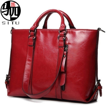 Fashion oil wax PU Leather Bags Tote Women Leather Handbags Women Messenger Bags Shoulder Bags Hot Vintage Bags