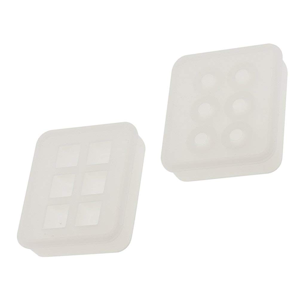Jili Online 2Pieces Assorted Silicone DIY Bead Mold Round Square Shape for Jewelry Making Hand Craft Tool