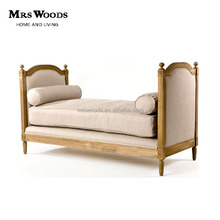 french country style oak antique fabric upholstered wooden daybed