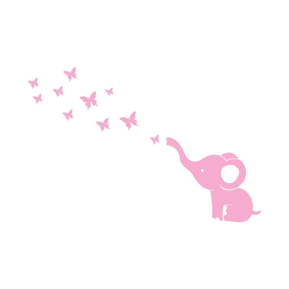 Rumas Cartoon Elephant Butterfly Wall Murals for Kids Room - DIY Removable Wall Decor for Living Room Bedroom - Bathroom Decor (Pink)