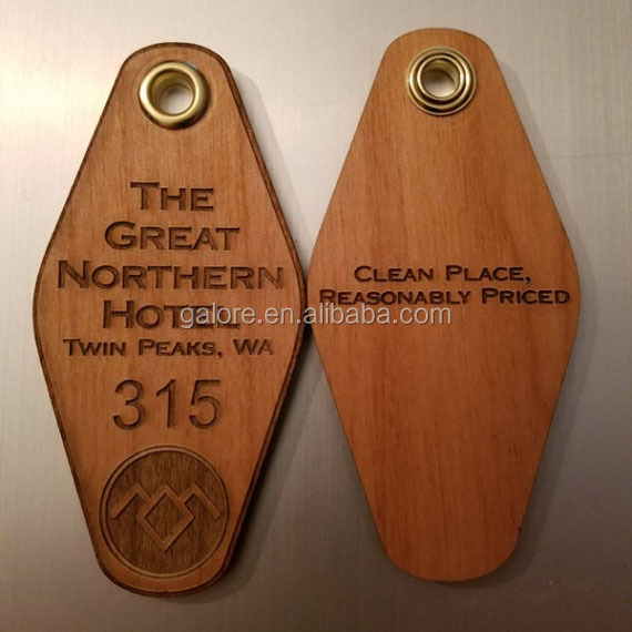 GK153 custom design personalized blank promotion wooden key tag