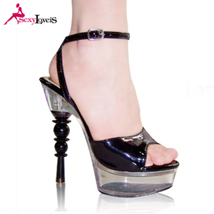China Black Funky Platform Shoes 15cm Sandals For Women HED29I