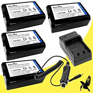 Four Halcyon 2200 mAH Lithium Ion Replacement Battery and Charger Kit for Sony a7, a7R, RX10, SLTA37, SLTA55V, SLTA35, SLTA33, NEX-6, NEX-5R, NEX-5T, NEX-7, NEX-5N, NEX-F3, NEX-6 Alpha Digital SLR Cameras and Sony NP-FW50