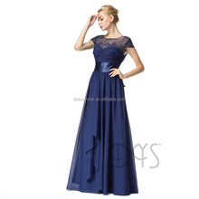 2017 Charming long a-line flowy chiffon navy blue prom dress with cap sleeve