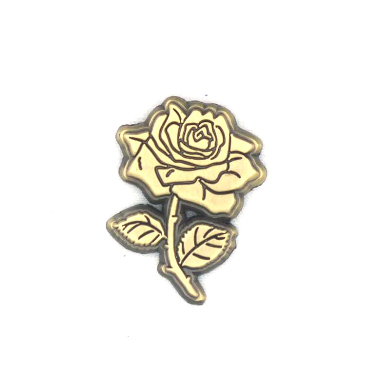 Custom antiqu gold rose lapel pin